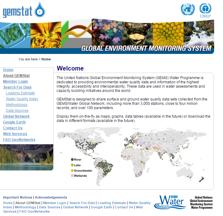 United Nations Global Environment Monitoring System (GEMS) Water Programme: http://www.gemstat.org/